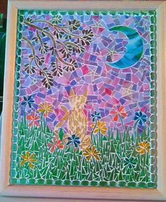"""SOLD...Lots of detail in this Stained Glass Mosaic and iridescent art glass in the tree branches, cat and the grass but not showing up in my cell pic! The stars are twinkling dichroic glass that change color at different angles...Framed 22"""" x 18"""""""
