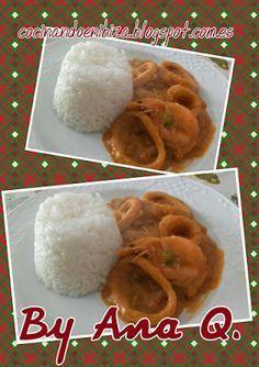 Cocinando en Ibiza: Calamares en salsa de verduras con arroz blanco (M...