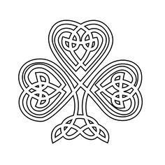 Celtic Shamrock | Celtic Shamrock Black White Line Flower Art Coloring Sheet Colouring ...