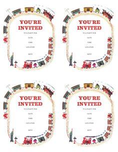 free printable train invitations