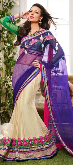 125409: White and Off White, Purple and Violet color family Saree with matching unstitched blouse.