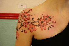 Right Shoulder Color Cherry Blosoom Tattoos