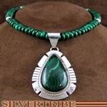 American Navajo Indian Genuine Sterling Silver Malachite Bead Necklace and Pendant Set