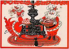 Vintage Greeting Card Christmas Santa Mrs Claus Cat Recipe Inisde UNUSED (B715)