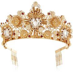 Dolce & Gabbana Gold-tone Swarovski crystal crown found on Polyvore