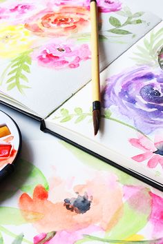 I've been hard at work filming all kinds of new online classes and currently my studio covered in watercolor floral paintings. Watercolor Projects, Watercolor Tips, Watercolour Tutorials, Watercolor Techniques, Watercolor Cards, Floral Watercolor, Doodle Flowers, Flower Doodles, Alisa Burke
