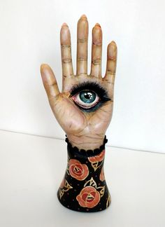 During the Seance - acrylic and paperclay on ceramic hand ring holder