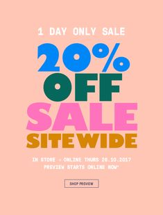 1 day sale | 20% off storewide | shop the sale
