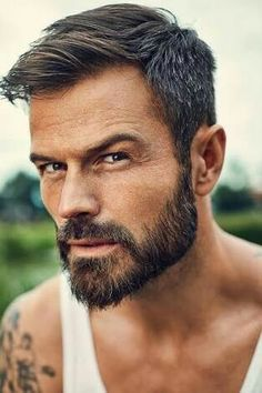 #fashionformen #men's style #men'sfashion #men'swear #modehomme #hair #haircut #inspiration #style #men #mode #suits #swag Beard Styles For Men, Hair And Beard Styles, Short Hair Styles, Mens Hairstyles Fade, Haircuts For Men, Beard Look, Awesome Beards, Beard No Mustache, Moustaches