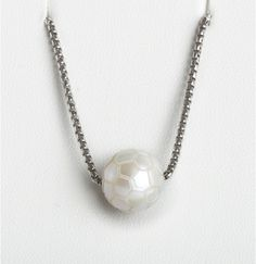 Galatea white freshwater soccer-motif carved pearl necklace