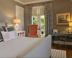 Suzie: Jeneration Interiors - Gray turquoise blue orange eclectic chic bedroom design. Look at ...