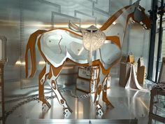 Hermes designed. The horse was made of layers of leather and stainless steel.