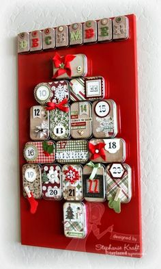 Advent calendar using mini altoid tins plus supplies from Taylored Expressions
