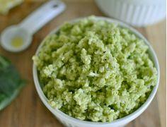 Paleo Green Goddess Cauliflower 'Rice' - make a creamy mix of avocado and basil leaves.