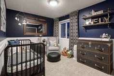 Baby boy nursery - airplane inspired. Navy blue, aviation, rustic. By decoratinglife.ca