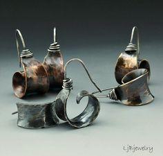 Silver Earrings, Red Brass Earrings, Copper Earrings, Hoop Earrings, Dangle Earrings, Mixed Metal Earrings, Metalsmith, Earthy Organic Style by LjBjewelry on Etsy https://www.etsy.com/listing/152270393/silver-earrings-red-brass-earrings