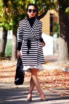 11.13 belted the coat (ASOS striped coat + black turtleneck + Aryn.K peplum hem skirt + Jimmy Choo metallic pumps + 3.1 Phillip Lim bag + Karen Walker sunnies)