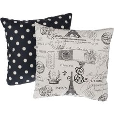 Paris Black Reversible Square Decorative Pillows (135 PEN) ❤ liked on Polyvore featuring home, home decor, throw pillows, pillows, black, black accent pillows, paris home decor, black home accessories, patterned throw pillows and black toss pillows