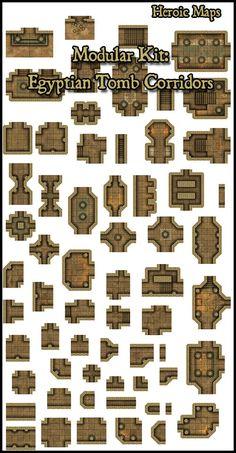 Heroic Maps - Modular Kit: Egyptian Tomb Corridors - Heroic Maps | Dungeons | Egyptian | Tombs | Desert | Modular Kits | RPGNow.com