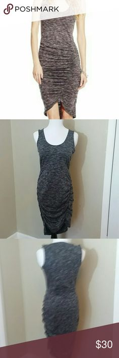 Jessica Simpson Ruched Bodycon Dress NWOT Marled black dual side ruching fitted bodycon dress. Pull over style with slight hi-lo hem. Never worn. Jessica Simpson Dresses Midi