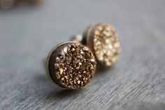 Druzy Gold Earrings  14k Gold Posts by TaraJacksonJewelry on Etsy, $64.99 Gold Earrings, Gold Necklace, Dainty Gold Jewelry, Druzy Ring, Posts, Jewels, Etsy, Gold Pendants, Messages