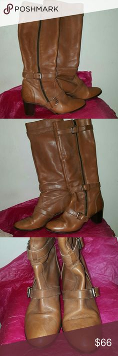 "J.Crew size 10 tan boots 2.5"" stacked heel. 16"" shaft, 15"" circumference. Outer zipper closure. Overlapping straps with buckles. Right boot has scratches on an upper part of the heel. Made in Italy. J. Crew Shoes Heeled Boots"