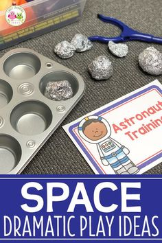 Find lots of ideas to create a DIY space dramatic play area. Your kids will have fun as they learn a Space Theme Preschool, Space Activities For Kids, Preschool Science, Planets Preschool, Kid Science, Dramatic Play Area, Dramatic Play Centers, Space Classroom, Kindergarten Classroom