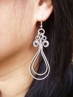 Wire Earrings  Doubble Loops flat silver by wiredesignbydanilo