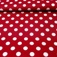Červená bavlna s bodkami 8mm