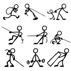 Stick Figure People Pulling vector art illustration