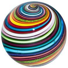 "1 3/8"" Glass Marble ~ Eddie Seese  BRILLIANT Joseph's Coat Swirl Marble"