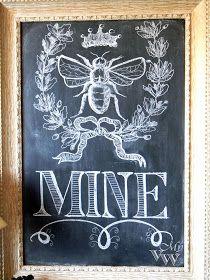My Vintage Window: A start on my Valentine decor. Chalk. Bee.