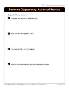 Sentence diagramming worksheets subject complements sentence sentence diagramming printable activity advanced practice the sentences in this diagramming workseet contain a ccuart Gallery