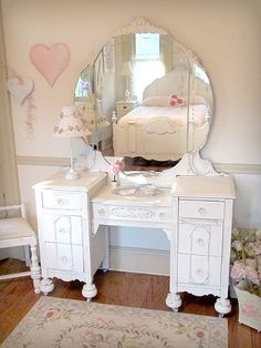 One-of-a-Kind White Vanity with Mirror and Bench