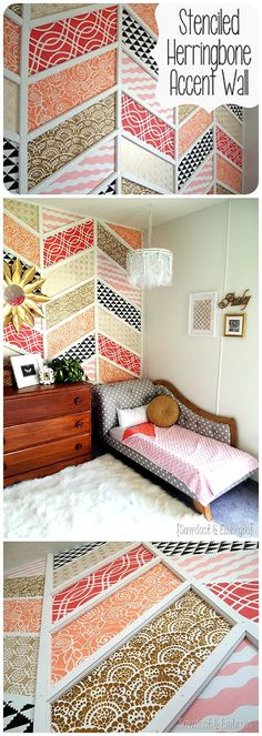 DIY Herringbone Stenciled Patchwork Artistic Accent Wall - Full Step By Step Tutorial {Reality Daydream}
