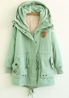 Light Green Plain Drawstring Paddad Coat