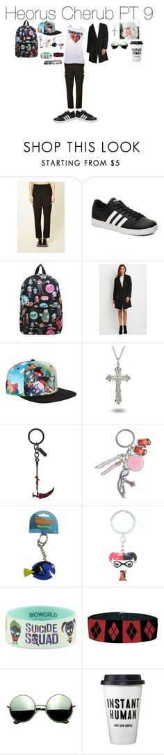 """""""Heorus Cherub PT 9"""" by emmasart ❤ liked on Polyvore featuring Love 21, adidas NEO, Disney, Forever 21, Cartoon Network and Revo"""