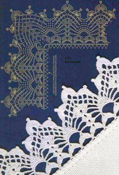 Crochet Edgings Design Knitting And Beading Wedding Bridal Accessories and Free pattern: Crochet Edges Patterns Crochet Boarders, Crochet Edging Patterns, Crochet Lace Edging, Crochet Motifs, Crochet Diagram, Crochet Chart, Thread Crochet, Love Crochet, Filet Crochet