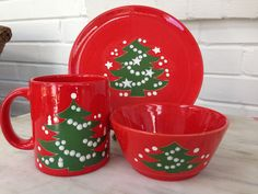RESERVED FOR D EHLRICH vintage Waechtersbach Christmas tree mug plate bowl W. Germany 1980s holiday dinnerware & Vintage Waechtersbach Christmas Tree Mug | Christmas tree Christmas ...