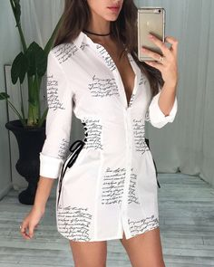chicme / Letter Print Lace-Up Detail Shirt Dress Trend Fashion, Style Fashion, Fashion Ideas, Fashion Inspiration, Bodycon Dress With Sleeves, Womens Fashion Online, Mode Outfits, Pattern Fashion, The Dress