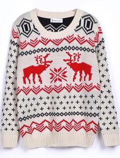 Beige Long Sleeve Deer Print Loose Pullovers Sweater