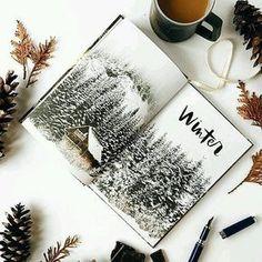 #christmas #festive #xmas #snow #winter #pinecone #leaves #art #illustration #painting