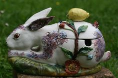 SUPERB 19thC MAJOLICA RABBIT FIGURE TUREEN WITH FLOWER, LEMON DECOR c1890
