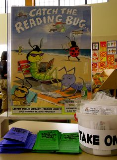 Catch the Reading Bug display and informational brochures in the young adult section of the Lester Public Library.
