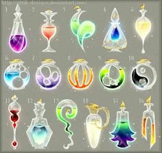 Potion adopts 10 (CLOSED) by Rittik-Designs on DeviantArt- Potions (set by Rittik-Designs Anime Weapons, Fantasy Weapons, Weapon Concept Art, Magic Art, Game Design, Cool Drawings, Art Sketches, Art Reference, Fantasy Art