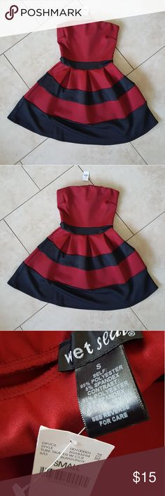 Never Worn  Strapless Wet Seal Party Dress Wet Seal strapless party dress Size Small  Never worn, still has the tag! There are indentations on the top of the dress from the hanger, as seen in the last 2 photos Wet Seal Dresses Strapless