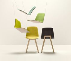 """colourful-design: """"nothingtochance: """" KUSKOA CHAIR / ALKI The chair is composed of a solid oak easel on which arises a delicate shell, upholstered on the front of clothed or wood. The tapestry is. Outside Furniture, Home Furniture, Modern Furniture, Furniture Design, Plastic Chair Design, Plastic Chairs, Plywood Chair, Chaise Bar, Stool Chair"""