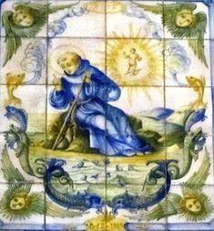 SERMÃO DE SANTO ANTÓNIO AOS PEIXES (séc. XVII) – Painel de azulejos da Igreja de S. Simão, Vila Fresca de Azeitão.
