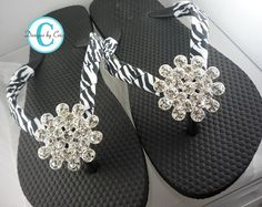 Rhinestone+Zebra+Flip+Flops+Bling++Buckle+Jewel+by+BowFlipFlops,+$33.00