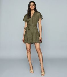 Gemina Khaki Embroidered Mini Dress – REISS Jumpsuit Dress, Shirt Dress, Iconic Dresses, Khaki Dress, Reiss, Flare Dress, Dress Collection, Fit And Flare, Trendy Outfits